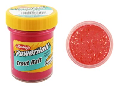 Berkley Powerbait Biodegradable Troutbait- Fluo Red Twin Pack-50g