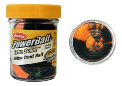 Berkley Powerbait Select Glitter Troutbait - Black/orange Twin Pack-50g