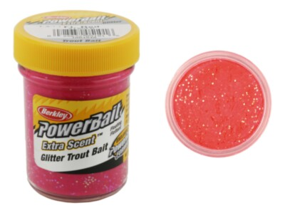 Berkley Powerbait Select Glitter Troutbait - Fluo Red Twin Pack-50g