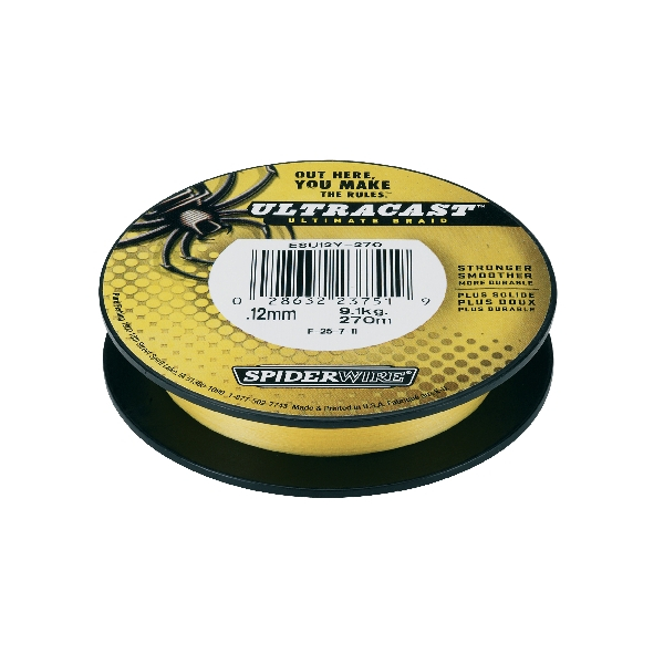 Spiderwire Ultracast Fluoro Braid - Green - Breaking Strain: 10 lb (.20 mm). Length: 300 yd